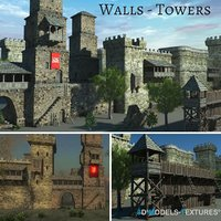 walls towers 3D
