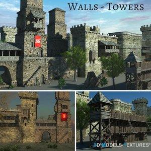 walls towers 3D