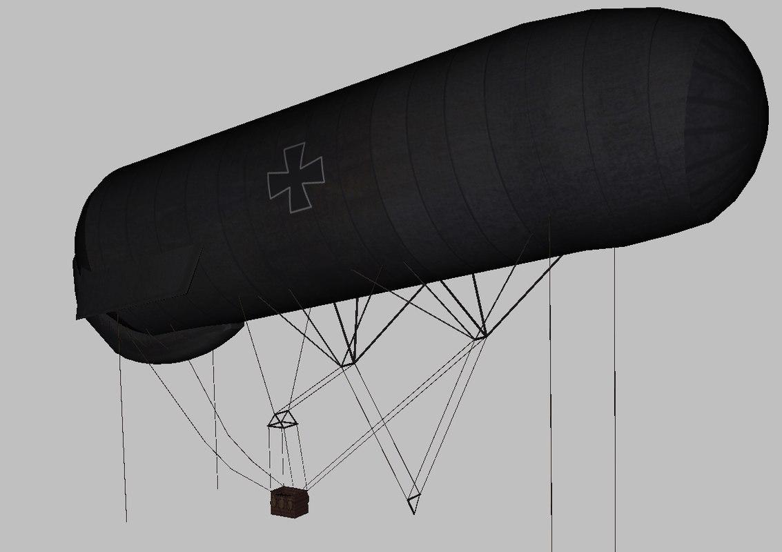 3D german observation balloon model