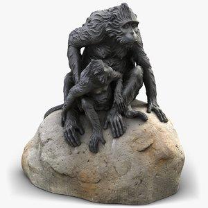 3D sculpture monkeys rock