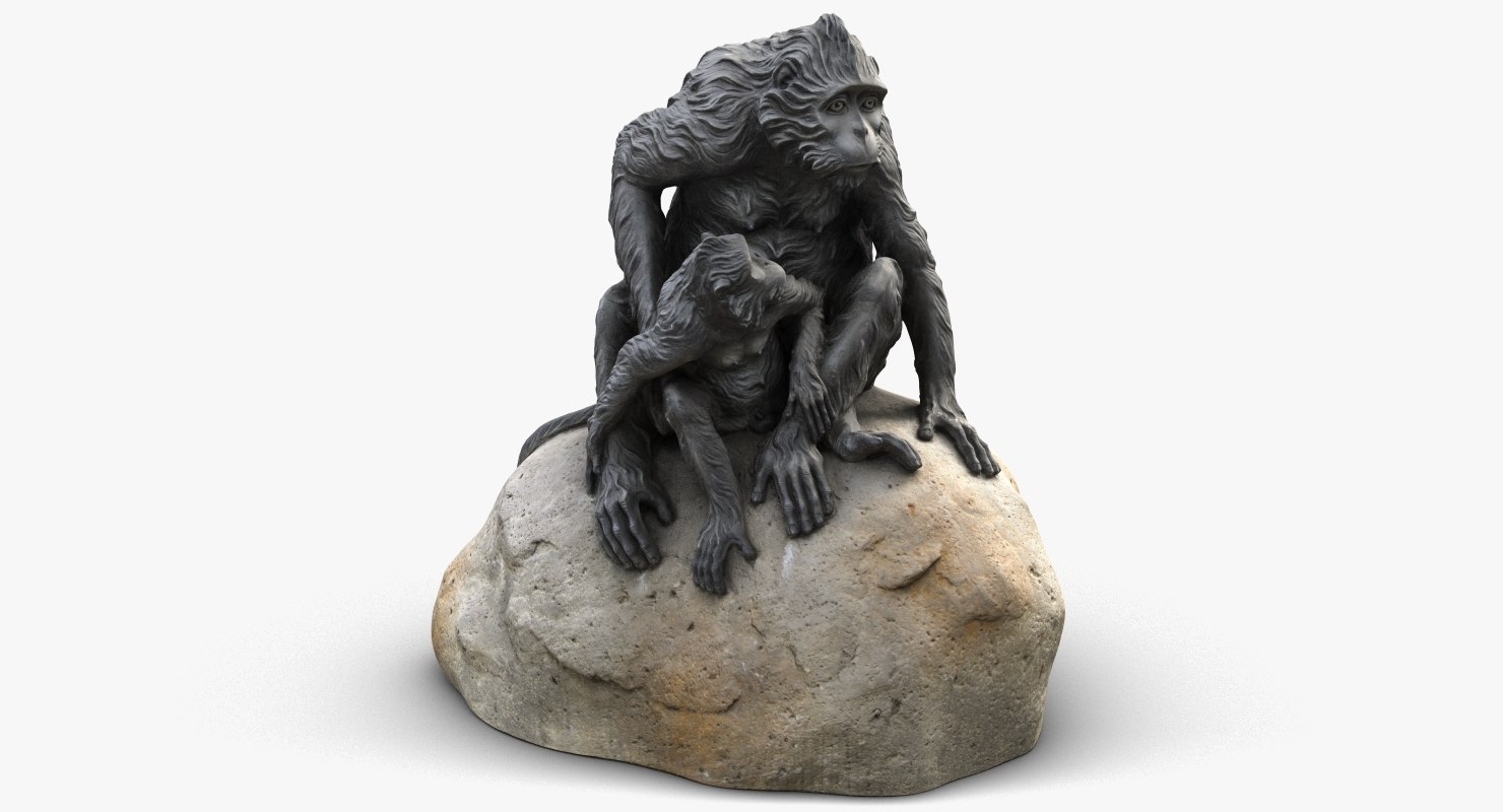 3D sculpture monkeys rock