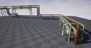 pbr modular industrial pipeline 3D model