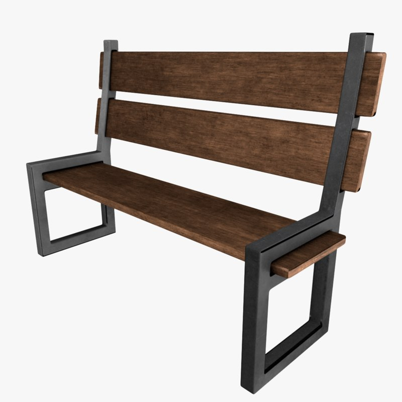 3D model wood metal bench