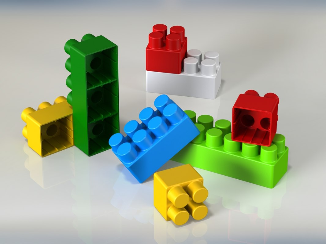 toy bricks set parts 3D model