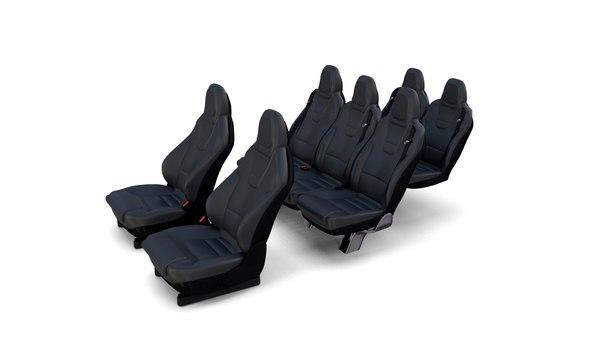 tesla x seats 3D model