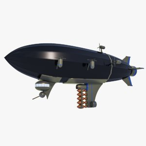 3D army blimp - sci-fiction