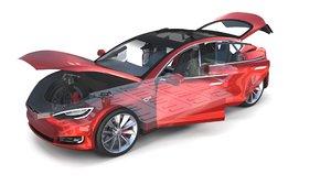 3D tesla s 2016 interior model