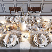 3D model holiday table serving