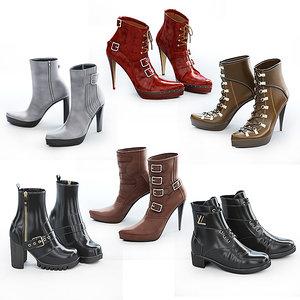 6 pairs women shoes 3D model