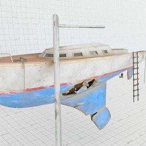 3D abandoned sailing boat model