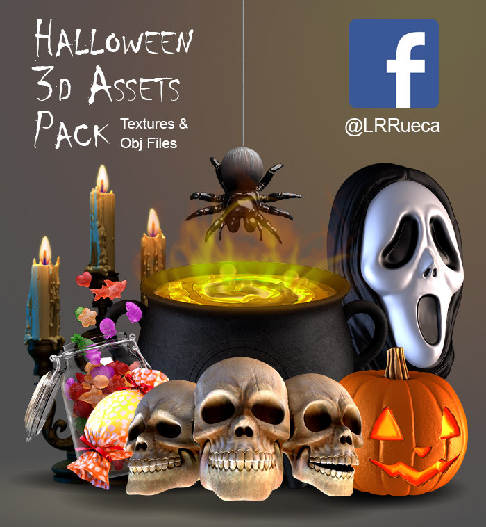 3D assets pumpkin cauldron model