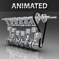 Engine Animated Inline 6-Cylinder Inline Dual Overhead Camshaft ( DOHC) Engine