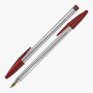 transparent pen red ink 3D model
