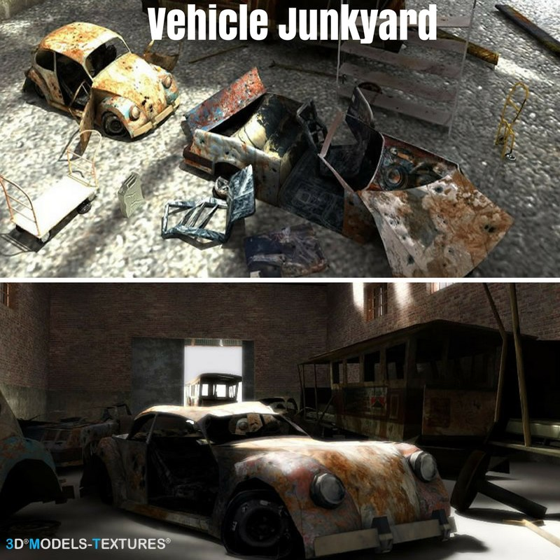 3D vehicle junkyard junk model - TurboSquid 1209491