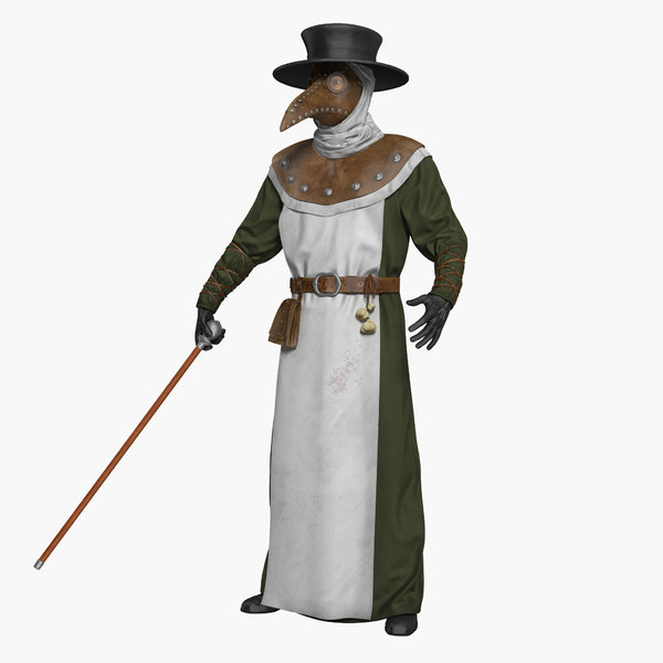 3D model plague doctor rigged