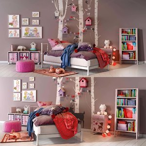 girl bedroom set 02 3D