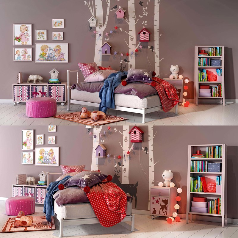girl bedroom set 02 3D