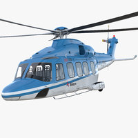 Medium Lift Helicopter AgustaWestland AW189 Rigged 3D Model