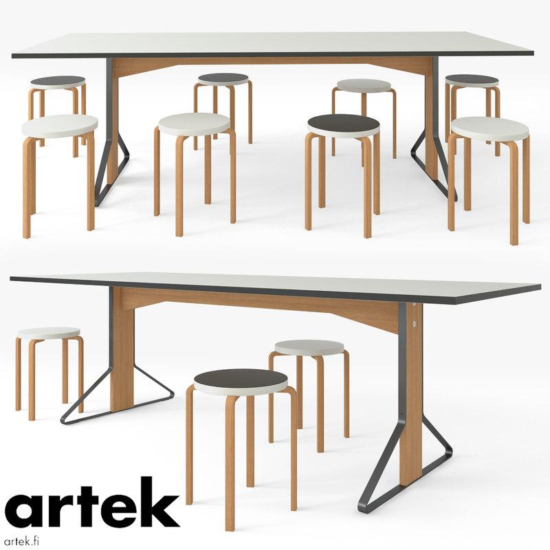 3D table kaari chair stool model