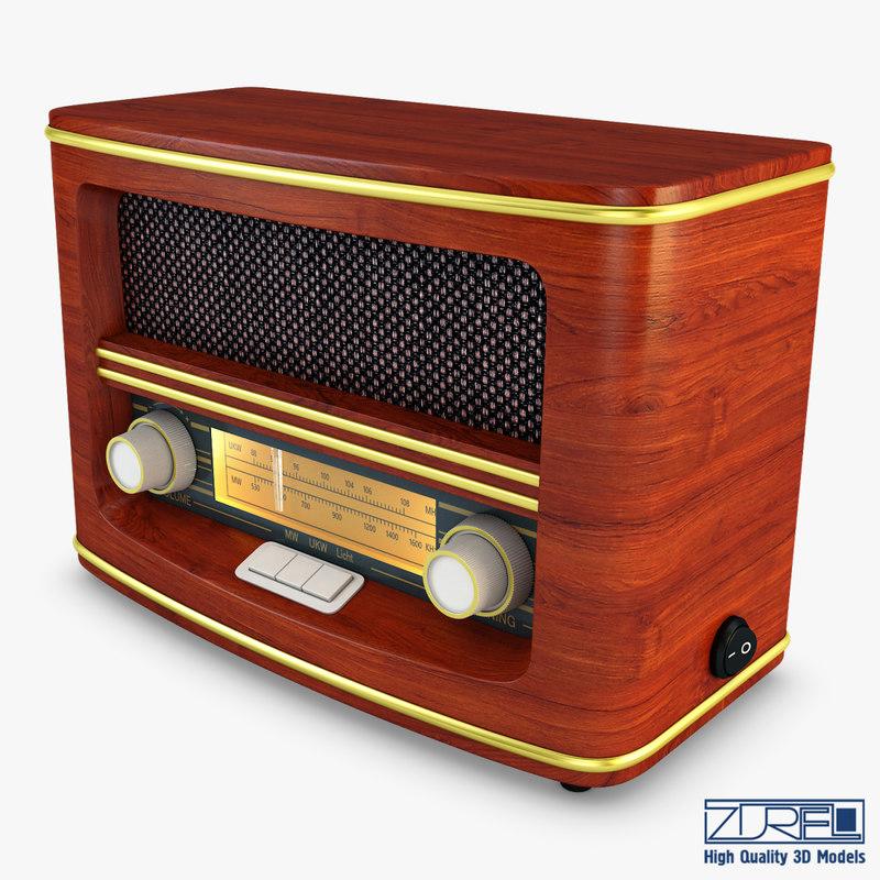 3D retro radio auna belle