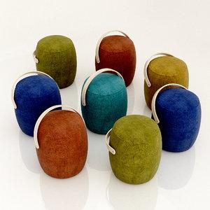 carry-on poufs 3D model