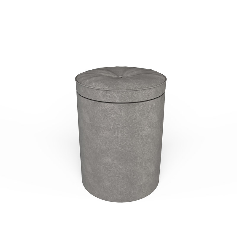 realistic leather pouffe 3D