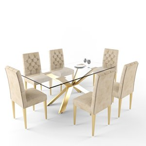 meridian furniture capri dining table 3D model