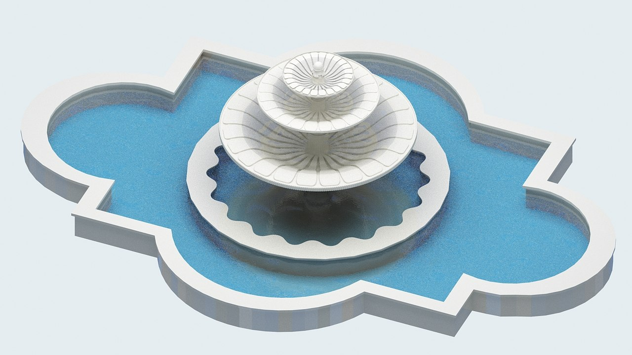 3D fountain fiskiye pond model