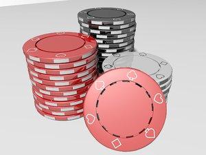 3D poker chips casino