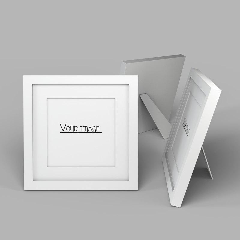 modern white picture frame 3D model