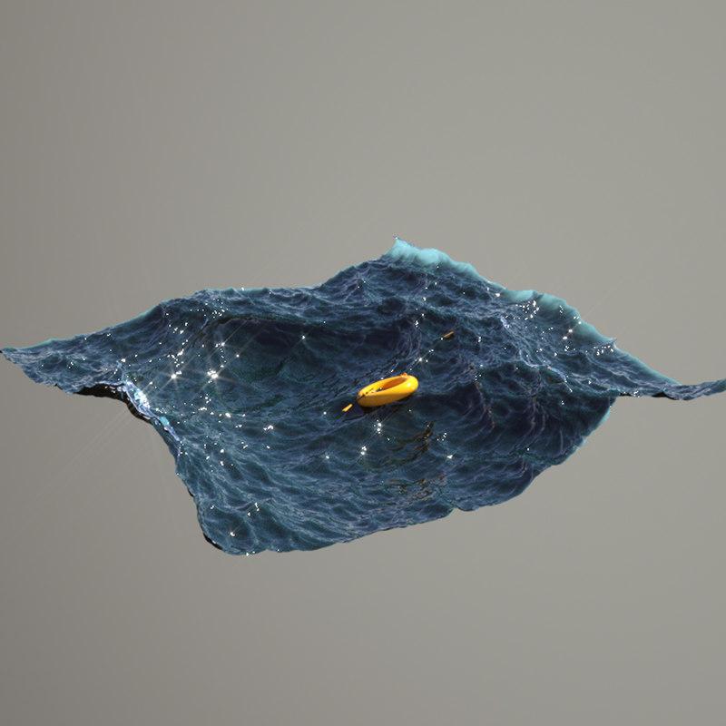 plastic boat wave 3D model