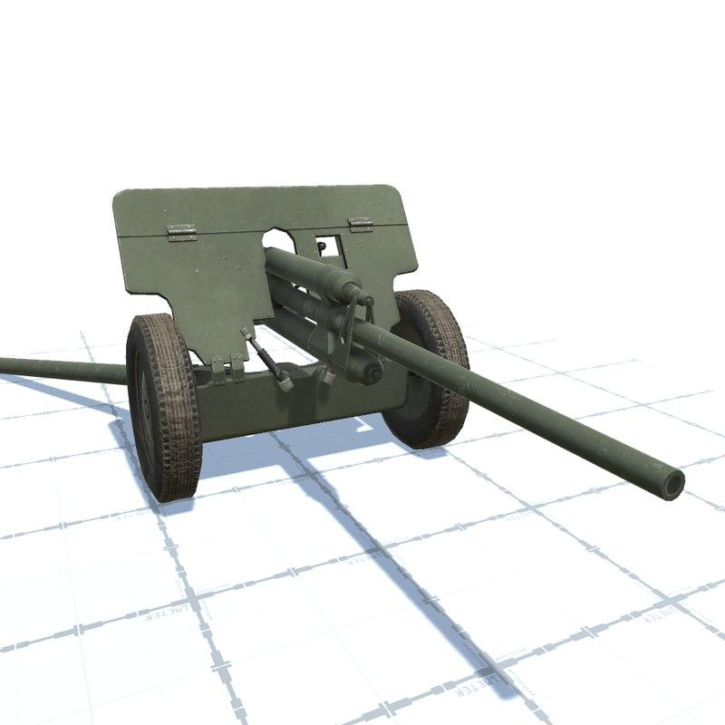57 mm gun zis 3D model