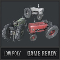 3D old tractor pbr