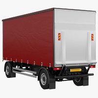 tautliner 2 axle trailer 3D model