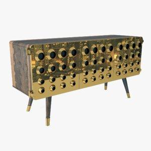 sideboard wood metal 3D