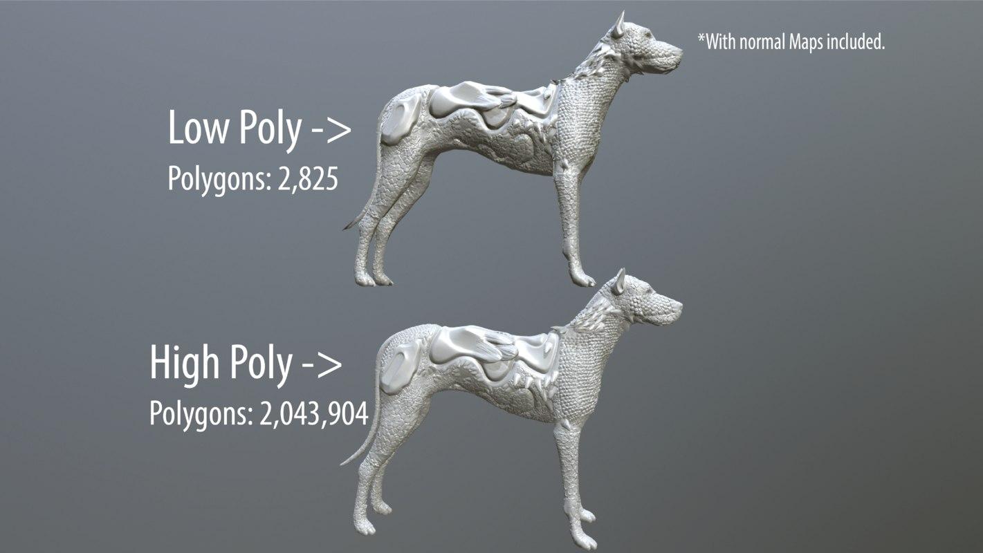 3D dog fantasy model