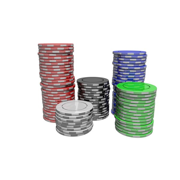 3D pile chips casino tokens