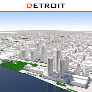 3D detroit cityscape