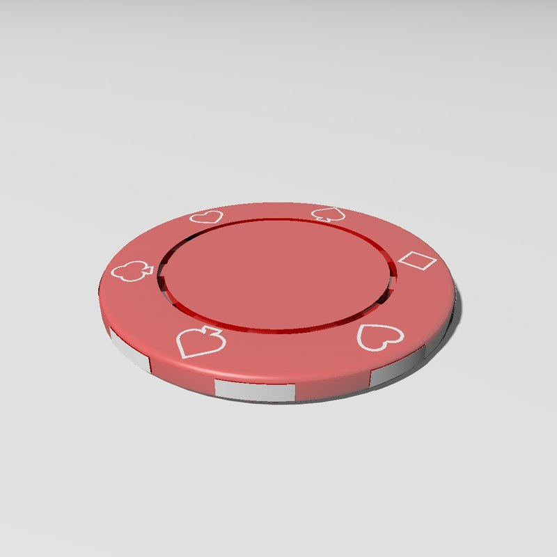 3D realistic red casino chip model