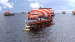 greek warship trireme historically 3D model