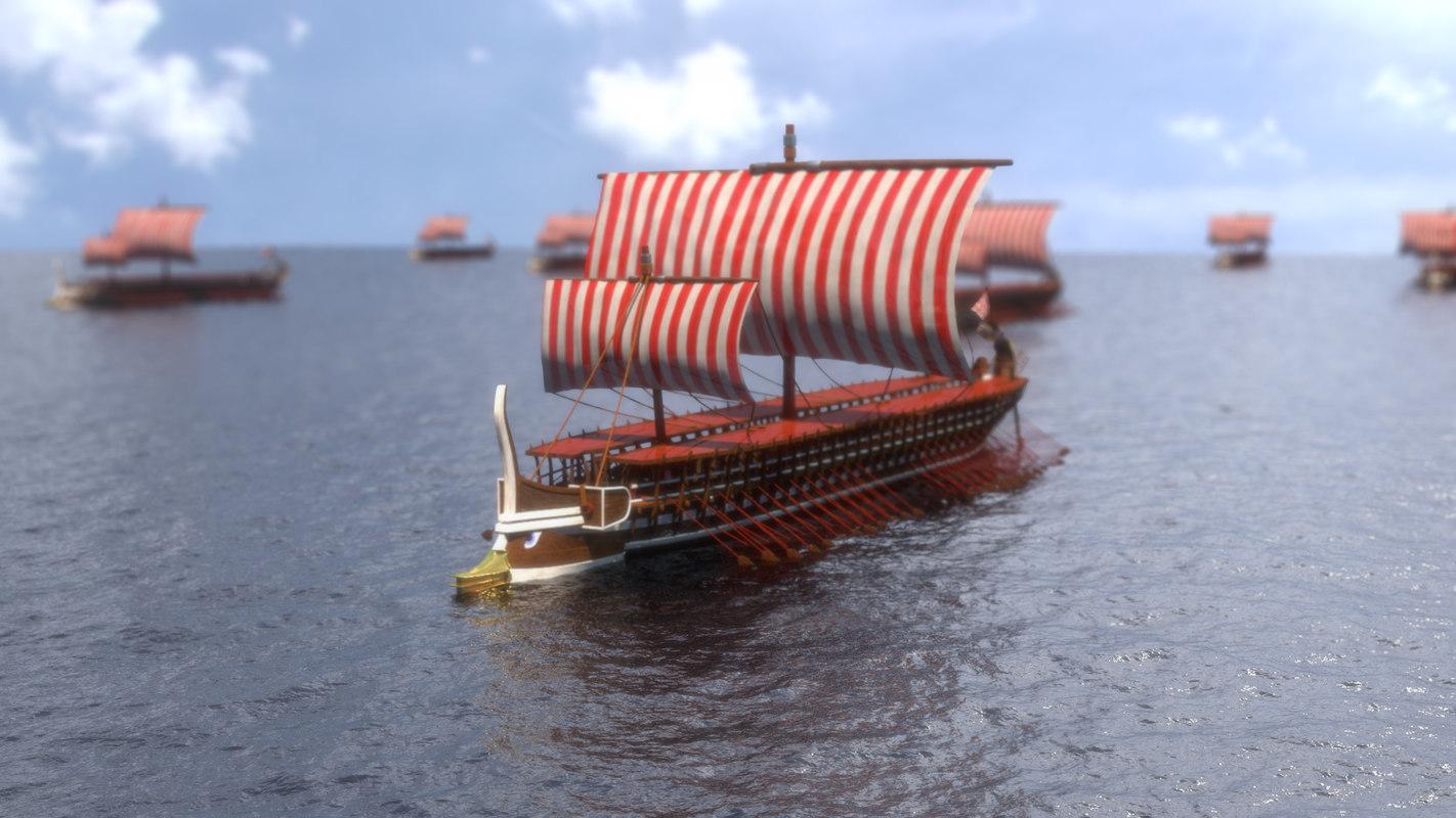 greek warship trireme historically 3D model