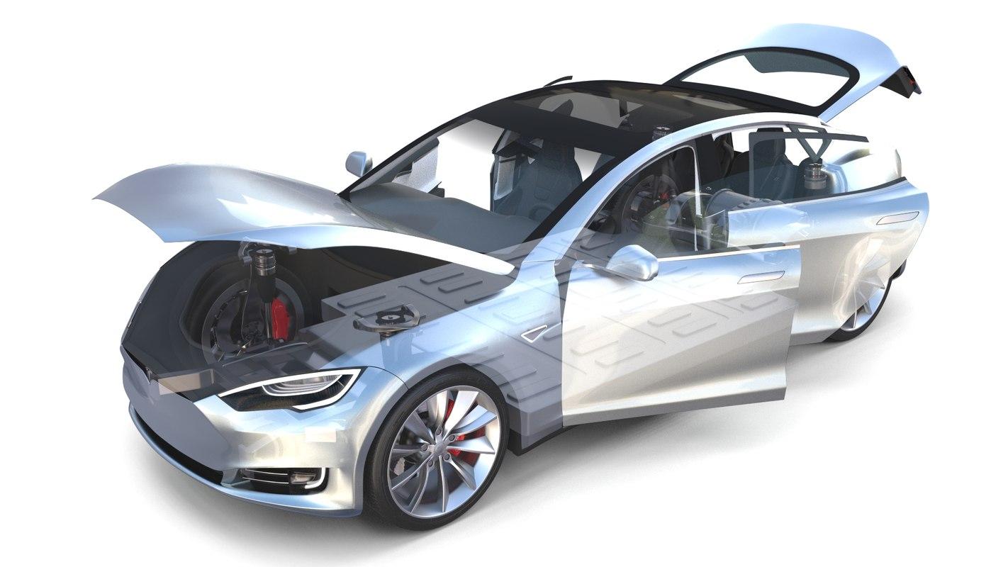 tesla s 2016 interior 3D model