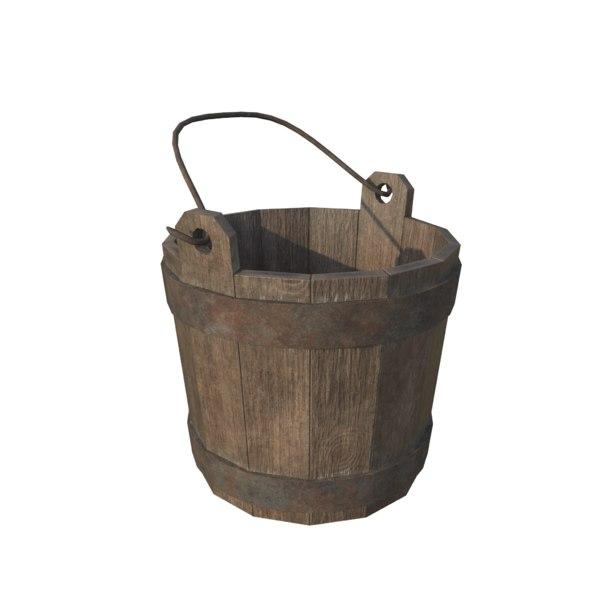 3D wooden bucket old