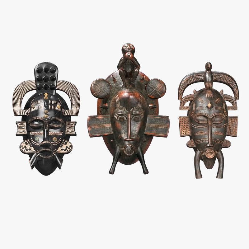 3D african masks senufo