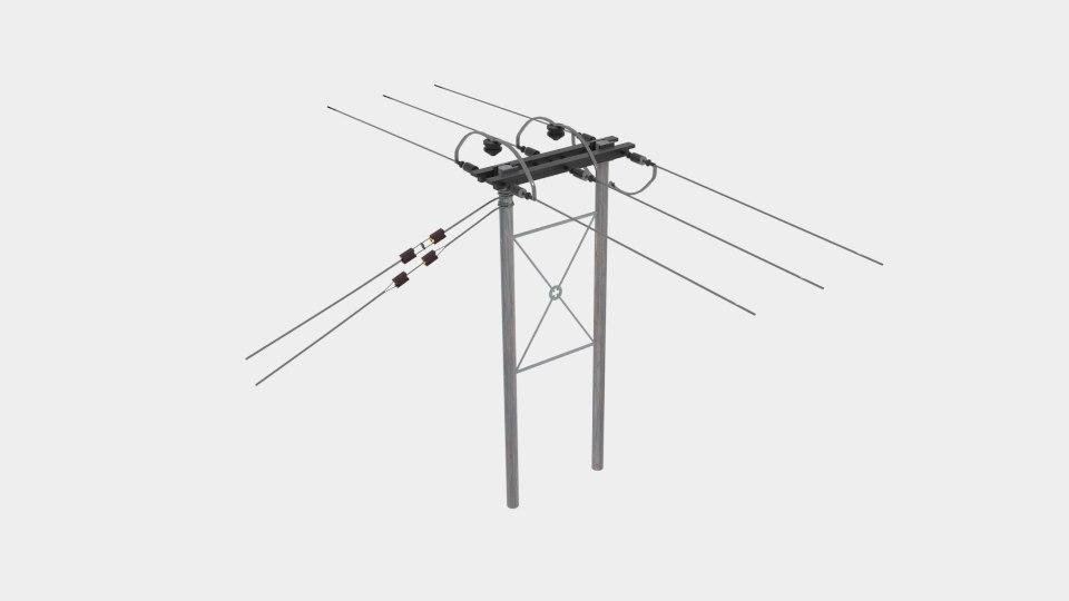 wooden telegraph pole farmers 3D model
