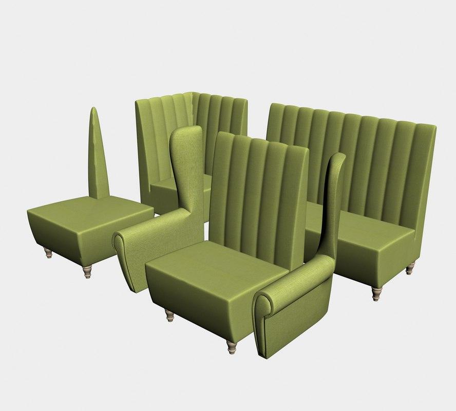 sofa dining 3D model