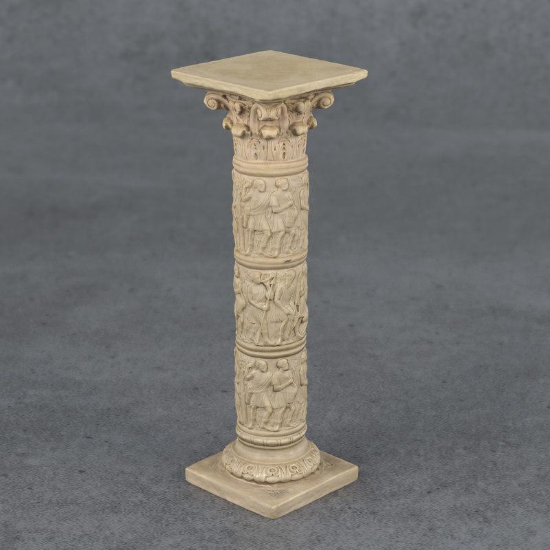 decorative pedestal stand corinthian 3D model