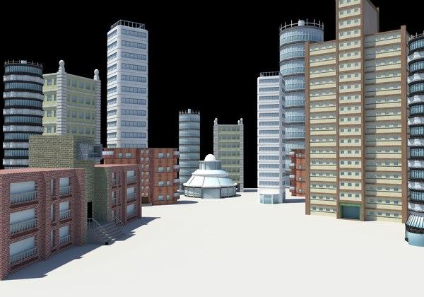 3D buildings city