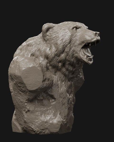 bear grin bust printing 3D