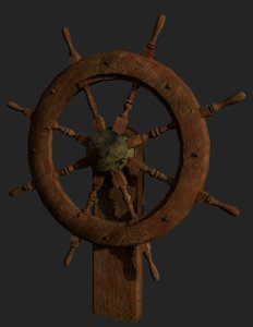 dirty wooden steering wheel model